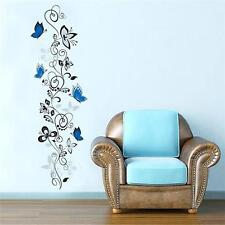 NEW WALL STICKERS BLUE BUTTERFLIES FLOWERS VINE VINYL DECALS HOME ROOM DECOR LA
