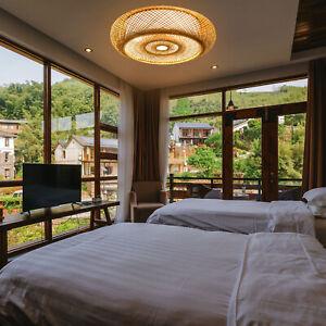 Retro Decken Leuchten Lampe Boho Style Bambus Wohn Schlaf Ess Zimmer Beleuchtung
