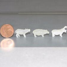 Spur N 1:160 Kleinserie 3 Stück unbemalte Flusspferde Nilpferde Hippo Zirkus Zoo