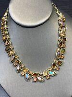 "Vintage 1950S Gold Signed LISNER Necklace Topaz AB RHINESTONE  WOW 12-16"""