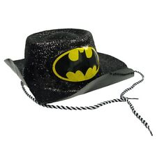 Batgirl Hat Costume Batman Fancy Dress Womens Black Glitter Outfit