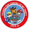 48 Personalised Party Bag Stickers Paw Patrol Chase Sweet Bag Seals 40mm Labels