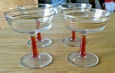 4 x Vintage French Champagne / Cocktail Bowl Glasses Gold Bands Red Stem Superb
