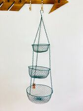 Traditional Wire Fruit Basket. 3 Their. Hanging Basket. Vegetable Storage. Green