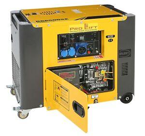 Stromerzeuger Silent Diesel Generator Aggregat 5,5kW 230V E-Starter Rollen 02447
