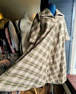 Vintage 1970's Maternity Dress, House Coat, Hand Made, Checked, Size Medium