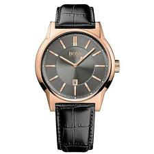 NEW HUGO BOSS 1513073 MENS LEATHER ROSE GOLD WATCH - 2 YEAR WARRANTY