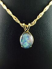Genuine Australian Opal Necklace Pendant Triplet Twice 18ct Gold Plated with Box
