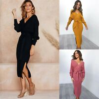 Sweater V Neck Party Dress Women Ladies Knitted Long Sleeve Pencil Bodycon