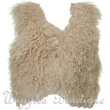 Topshop Mongolian Sheepskin Wool Waistcoat Gilet - Beige UK10/EU38/US6