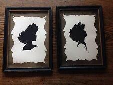 Vintage Framed Silhouettes, Stylish Ladies Handpainted