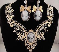 necklace set 18k gold p metal lace antique black cameo bow vintage style FIOJ