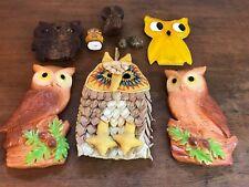 Vintage Owls Set of 9 Wall Plaques Trivet Toothpick Holder Potholder (HD3)