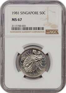 1981 SINGAPORE 50C MS 67 NONE GRADED HIGHER!