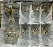Czech bohemia crystal cut glass - Wine set 6+1 decorated with gold - 6x17cm + 1x