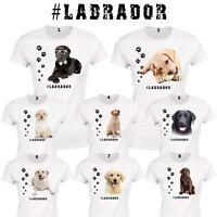 LABRADOR Hund Damen T Shirt Weiß Gedruckte Hunderasse Tier Lustig Kleidung