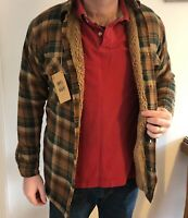 MENS PADDED HOT SHIRT FUR LINED LUMBERJACK FLANNEL WORK JACKET WARM THICK CASUAL