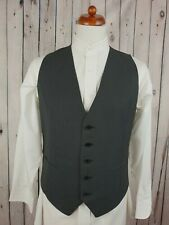 "Vintage Single Breast Grey Pinstripe 2 Pocket Wool Blend Waistcoat -38""- JT60"