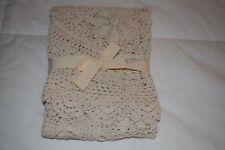 Shabby Chic Vtg Cottage Antique White Crochet Tablecloth Sm Round Lace Farmhouse