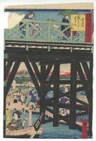 Hiroshige III, Boat Cruise, Tokyo, Original Japanese Woodblock Print, Ukiyo-e