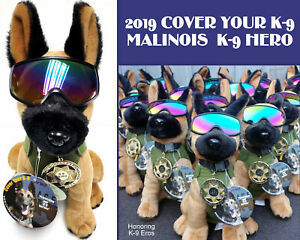 Plush Belgian Malinois MWD Police Dog with Green Vest, Badge & RexSpecs Googles