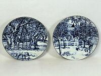 Set Of 2 Williams Sonoma LES DOMAINES Blue White Dessert Salad Plate Apple Trees