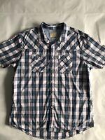 Mens Burton Menswear Short Sleeve Check Shirt Size XXL - Blue And Pink