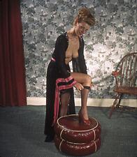 Vintage Stereo Realist Photo 3D Stereoscopic Slide NUDE Blonde Pulls Black Nylon