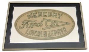 Vintage FORD MERCURY LINCOLN ZEPHYR Framed Patch Artwork Sketch Drawing Ad Logo