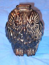Vintage WISE OLD OWL Amber Brown Glass Piggy Coin Bank