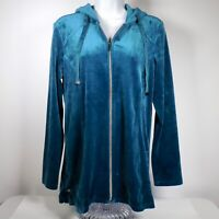 Chicos Zenergy Velour Womens 0 S 4 6 Blue Teal Jacket Full Zip Hooded Side Snap