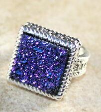 SILVER Vintage Style Blue Rainbow Titanium Druzy Square Ring Size 7, WR10410