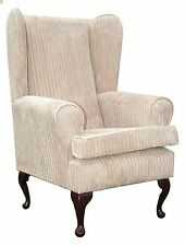 FIRESIDE WING BACK QUEEN ANNE CHAIR LUXURY BEIGE JUMBO CORD FABRIC