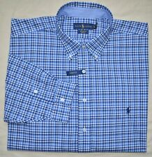 New 2XLT 2XL TALL POLO RALPH LAUREN Mens button down dress shirt blue plaid 2XT