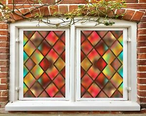 3D Red Square A2225 Window Film Print Sticker Cling Stained Glass UV Zoe