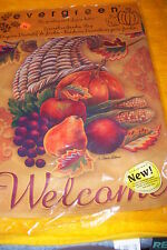 "Evergreen Decorative Garden Flag, 12 1/2"" X 17 1/2"" Welcome Horn Of Splendo, New"