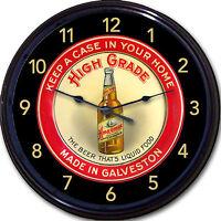 "High Grade Galveston TX Beer Tray Wall Clock The Beer That's Liquid Food New 10"""