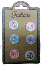 Vintage Design Pack 6 Buttons Floral Spotty Heart Chic Shabby 20mm Sewing Craft