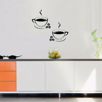 2Pcs Coffee Cups Wall Stickers Fashion Art Home Restaurant Pub Cafe Decor