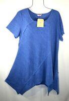 Women's 2X New Plus Size Boho Fall Blue Patch Stitch Top Blouse Tunic NWT