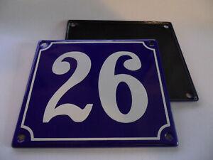 Old French Blue Enamel Porcelain Metal House Door Number Street Sign / Plate 26