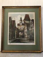 """Rothenburg Ernst Geissendorfer Colored Etching Print, Signed, Framed, 16"""" x 20"""""""