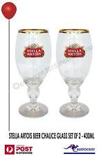 Stella Artois 2 x ICON Beer Chalice Glasses Gold rim  430/330ml BNWOB Man cave