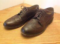 Men's Frye Wingtip Oxford Dress Shoe Brown Size 10D Pebbled Leather EUC