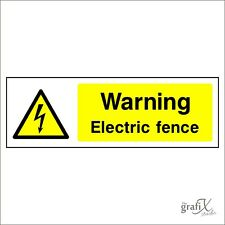 Warning Electric Fence Adhesive Vinyl Decal Safety Sign 150mm x 50mm secu0015
