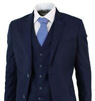Mens Navy Blue 3 Piece Tailored Fit Short Regular & Long Smart Formal Suit