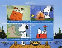 Madagascar 2018 MNH Snoopy Peanuts 4v M/S Cartoons Comics Stamps