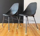 Mid Century Pair Sam Avedon Early Plastic&Steel Chairs for Alladin RARE BLACK!