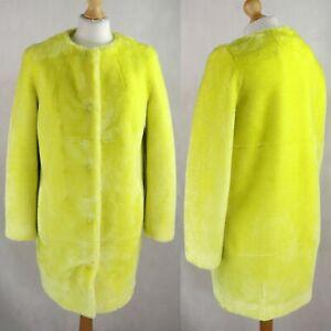 Womens TOPSHOP Faux fur Teddy Coat Size UK 8 Neon Yellow Overcoat EU 36 Fluffy