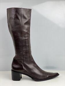 Pitti Linea Women Brown Leather Knee High Boot UK Size 6